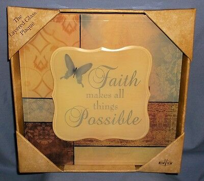 Inspirational Layered Glass Wall Plaque by New View, Contemporary, Multi-Color