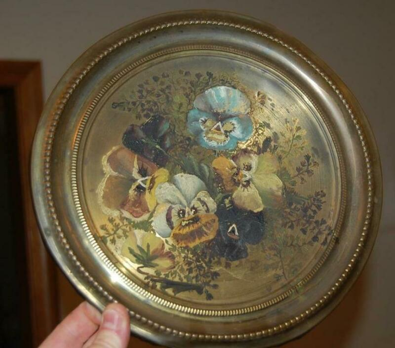 ANTIQUE C.1887 OIL PAINTING PAINTED BRASS TOLE PLATE TRAY CHARGER GREENFIELD MA
