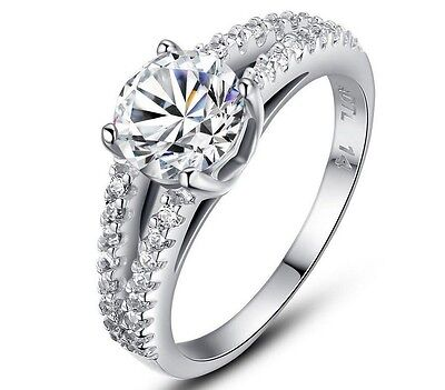 14K White Gold Pl. 925 Sterling Silver Women Hot Sell Luxury Wedding Ring CZ Fashion Jewelry