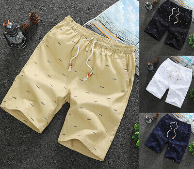 Men Casual Sport Shorts Chino Summer Beach Joggers Pants Twill Cotton Slim Fit