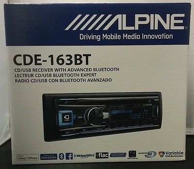 NEW Alpine CDE-163BT Single DIN Bluetooth Car Stereo Receiver