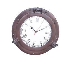 Ship's Cabin Porthole Clock Bronze Finish 12 Aluminum Hanging Wall Decor New