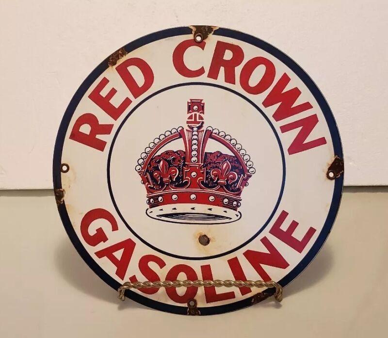 "RED CROWN GASOLINE ROUND PORCELAIN PUMP PLATE SIGN 11 3/4""  (#C3)"