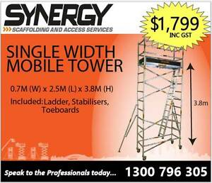0.7m x 2.5m x 3.8m ALUMINIUM MOBILE SCAFFOLD Fyshwick South Canberra Preview