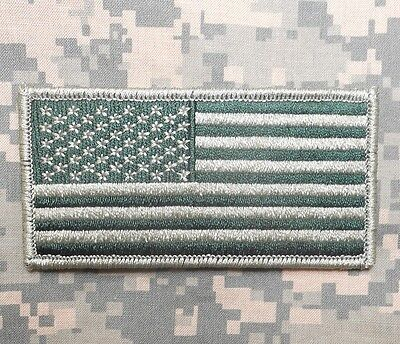 USA AMERICAN FLAG ARMY MORALE BADGE OD GREEN VELCRO BRAND FASTENER PATCH
