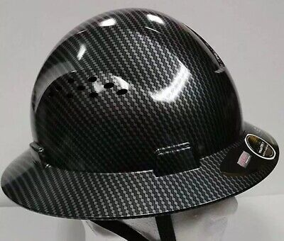 Fiberglass Full Brim Hard Hat Blacksilver With Fas-trac Suspension