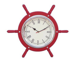 Ships Steering Wheel Red 15 w/ Chrome Clock Wooden Nautical Hanging Wall Decor