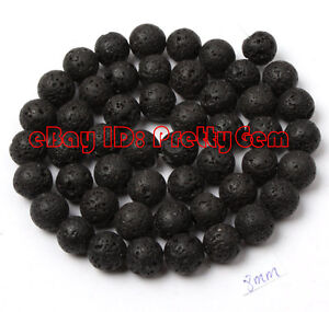8mm-Round-Black-Lava-Rock-Gemstone-Beads-Strand-15