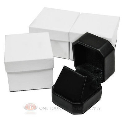 3 Piece Black Leather Pendant Earring Jewelry Gift Boxes 1 78 X 2 X 1 58