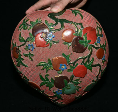 """10"""" Qianlong Marked Old Red Lacquerware Painting Peach Jewelry box jewel case"""