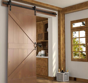 Barn door hardware, rustic or modern, with soft close