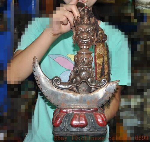 old Tibetan meteorite iron Skull Mahakala buddha statue ax Axe Vajra phurpa faqi
