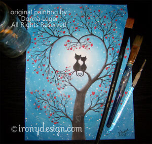 Original Whimsical Cats Painting