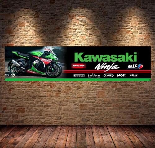 kawasaki ninja elf racing Banner PVC Sign, Workshop office pitlane mancave