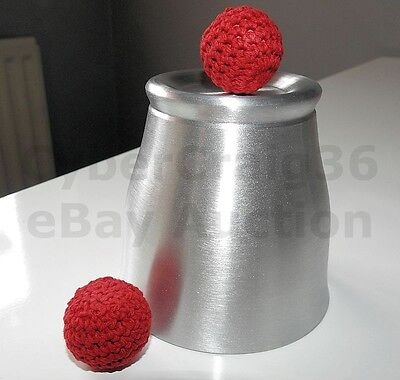 CHOP CUP METAL ALUMINIUM CLOSE UP & STAGE CLASSIC MAGIC TRICK AND RED BALL PROP Chop Cup Balls