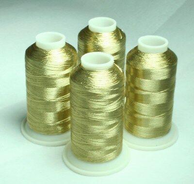 NEW WHITE GOLD METALLIC MACHINE EMBROIDERY THREADS KIT