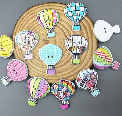 Cartoon Wooden Mix-color hot air balloon Buttons sewing scrapbooking craft 30mm - Hot Air Balloon Craft