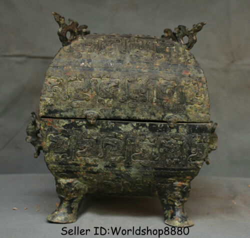 """11.2"""" Antiquity Chinese Bronze Ware Dynasty Palace Dragon Beast Box Food vessels"""