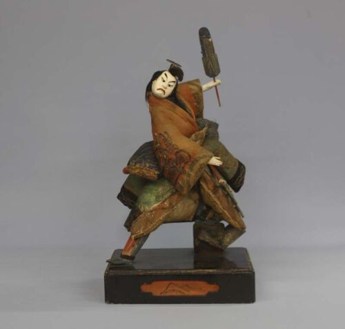 Antique Japanese Kabuki Actor Samurai Large Doll Circa 1800 Edo Period 16""