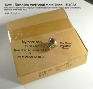 Solid Brushed Nickel Richelieu metal knobs - New in box -offers!