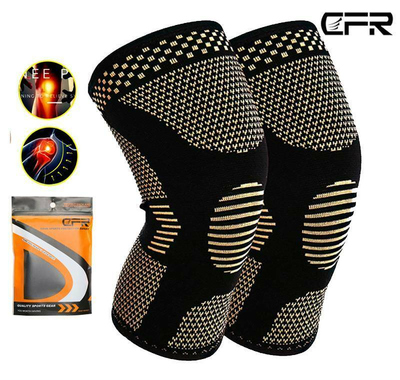 Copper Compression Knee Sleeve Support Brace Sport Joint Pai
