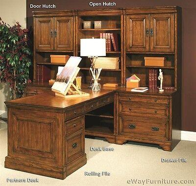 FREE SHIPPING! New Modular Home Office Wood Computer Desk Furniture Oak Finish ()