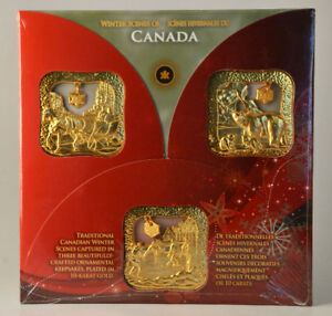 Winter Scenes of Canada Christmas Ornaments 2008 10K Gold Plate