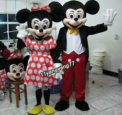 For Sale 2PCS Complete Mickey Mini Mouse Disney Character Mascots Costumes Adult (Disney Costumes For Sale)
