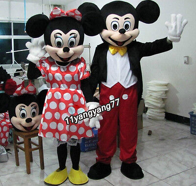 For Sale 2PCS Complete Mickey Mini Mouse Disney Character Mascots Costumes Adult - Mascots For Sale