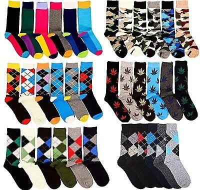 6 Pairs Mens Fashion Dress Socks Multi-Colors Designer Prints Argyle Pattern Lot ()