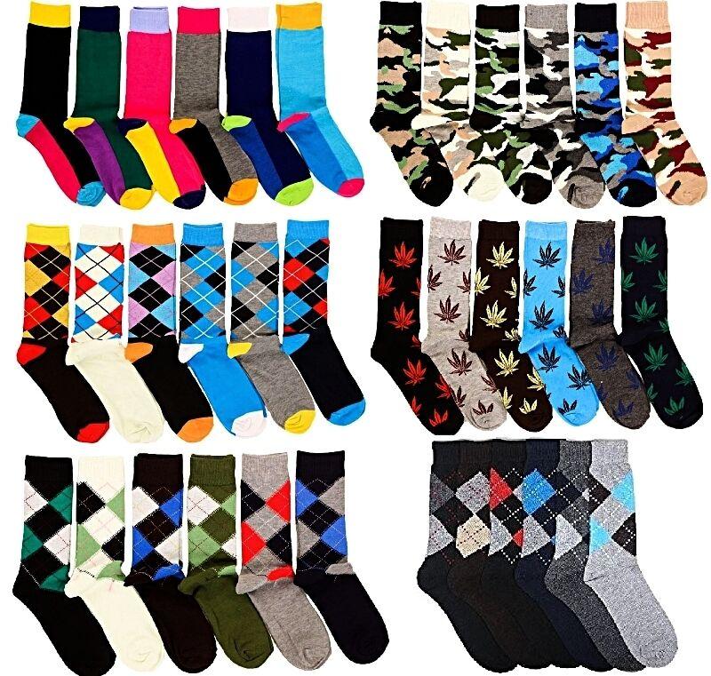 6 Pairs Mens Fashion Dress Socks Multi-Colors Designer Print