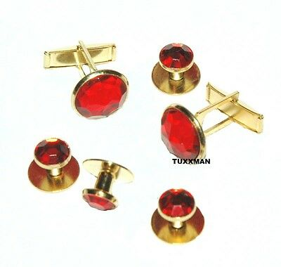 NEW RED Gold Tuxedo Cuff links Studs Tux Cuff Links French Cuffs  TUXXMAN - Gold Tux
