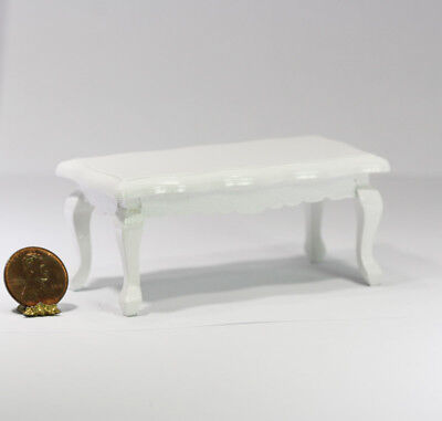 Dollhouse Miniature White Coffee Table in Painted Wood ()