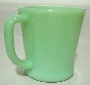 Vintage D Handle Green Jadeite Glass Mug Oven Ware Fire King