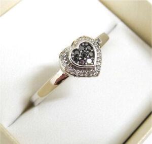 10ct White gold 10k MHJ black & white diamond heart ring & pendant Darch Wanneroo Area Preview