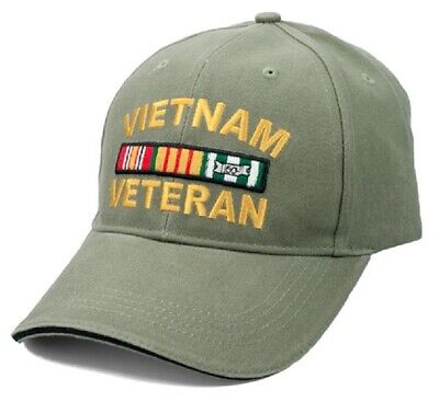 Vietnam Veteran RIBBONS Ball Cap US Army Marine Corps Navy USAF Vet Hat OD GREEN