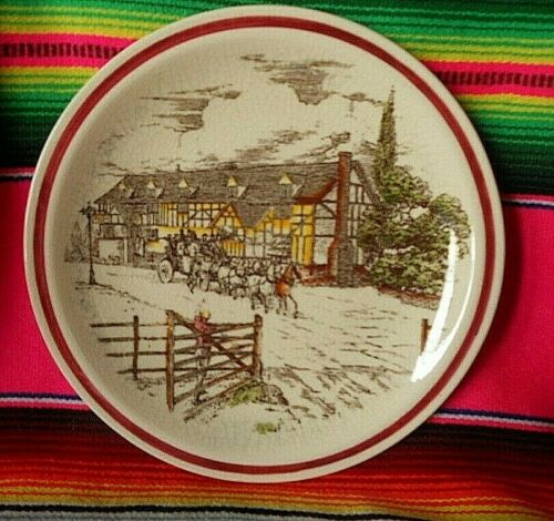 """Vintage Vernon Kilns 8 3/4"""" Bits of Old England Series Plate #5  Stage Coach"""