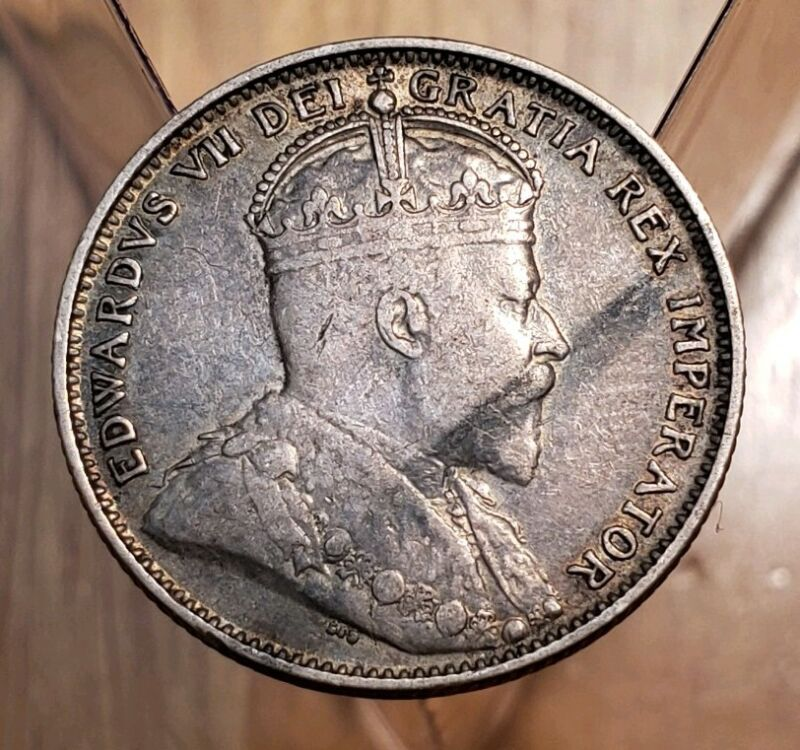 Canada 1904-H Edward VII  Newfoundland Silver 20 Cent Coin ( Low Mintage)