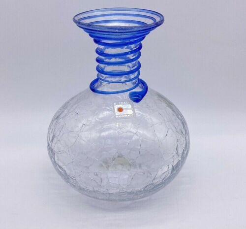 """Vintage 7"""" Blenko Crackle Glass with Blue Swirl Spiral Applied Vase Original Tag"""