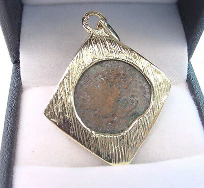 ANCIENT ROMAN COPPER COIN MOUNTED IN CUSTOM 14K YELLOW GOLD FRAME ....VERY NICE