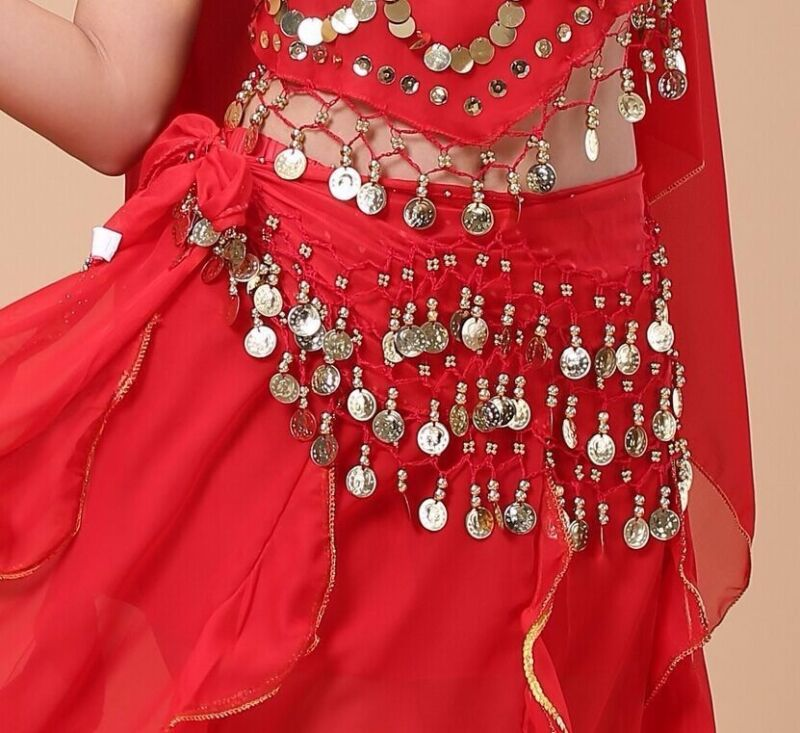 NEW On Sale Belly Dance Costumes Hip Scarf Wrap Belt Skirt Gold Coins Beads
