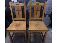 Fantastic Pair of Oak Church Memorial Dining Kitchen Chairs