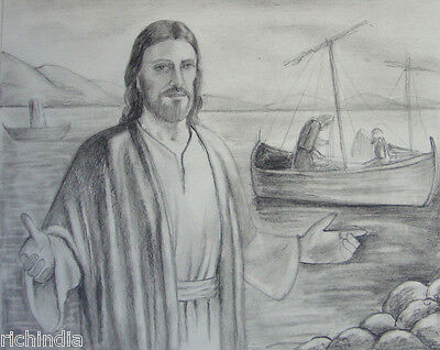 Christian Jesus Artwork Handmade Christ  Religious Painting pencil sketch Boat