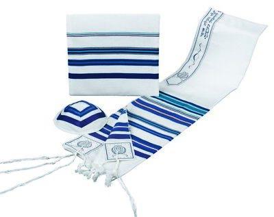 BLUE & PURPLE TALLIT SET WITH BAG & KIPPAH - Jewish Prayer Shawl - SIZE 18
