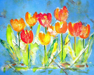 tulips in watercolor by laura trevey