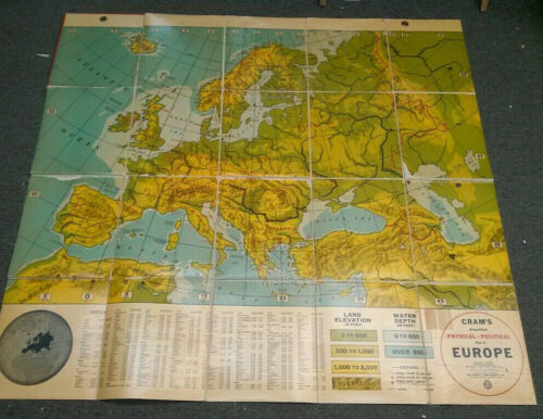Crams Simplified Physical-Political Map of Europe (Folding Map)