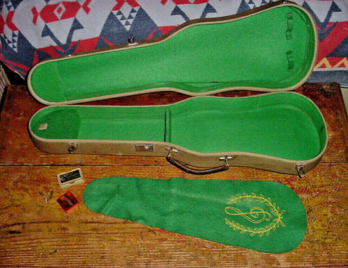 "VINTAGE TWEED VIOLA CASE 16 1/2""  1950s plus vintage tuner rosin and mute"
