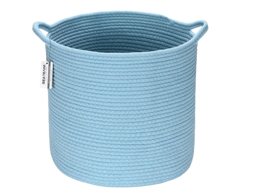 Sea Team Medium Size Cotton Rope Woven Storage Basket with H