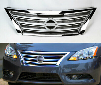 Replacement Chrome w Silver Front Upper Grill for Nissan Sentra 2013 2015