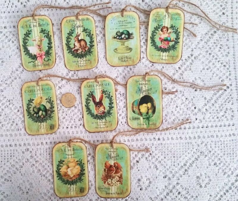 9~Easter~Primitive~Farmhouse Style~Bunny~Chicks~Linen Cardstock~Gift~Hang~Tags